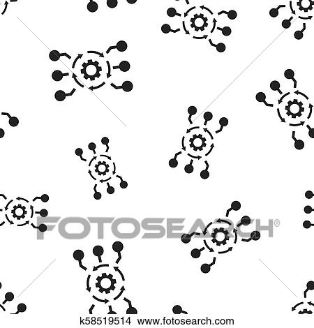 Algorithm api software icon seamless pattern background  Business concept  vector illustration  Gear algorithm symbol pattern  Clipart