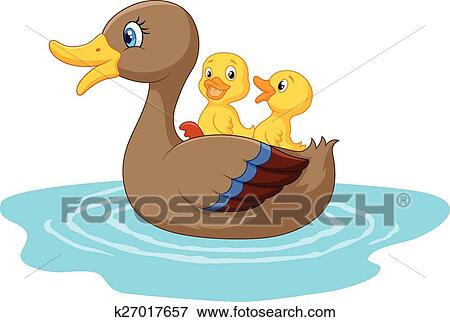 clip art of cartoon ducks on the pond k27017657 search clipart rh fotosearch com pictures of duck cartoon characters images of cartoon baby ducks