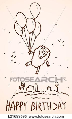 Clipart Of Happy Birthday Card Funny Sheep With Balloons Cityscape