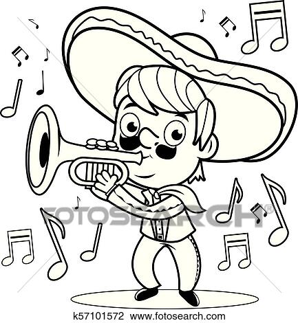 Mexican mariachi man playing the trumpet. Vector black and white ...