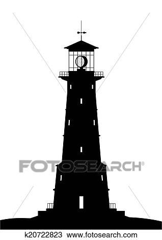 Dessin phare noir isol blanc k20722823 - Dessin de phare ...
