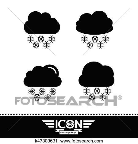 Clipart Schnee Wolke Symbol K47303631 Suche Clip Art