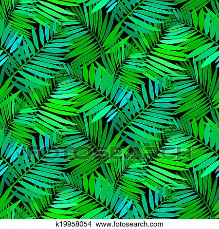 Clipart Of Seamless Pattern With Tropical Palm Leaves K19958054
