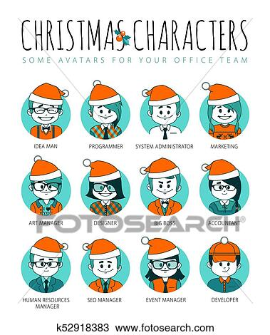 7e80e8ce758ab Clipart - Set of Christmas avatars your office team. Collection men and  women in red