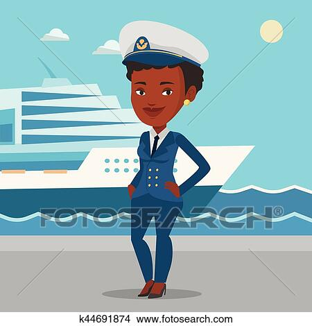 1b684484d Smiling ship captain in uniform at the port. Clipart