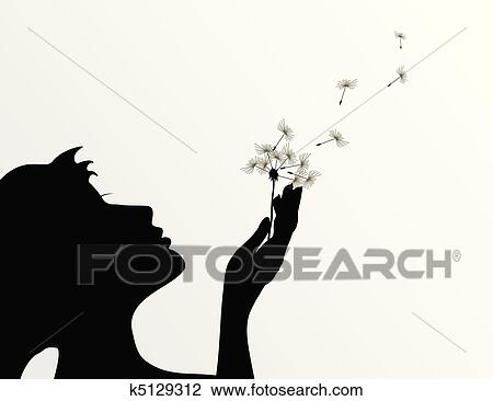 Clipart Of The Girl Blows On A Flower A Dandelion A Vector