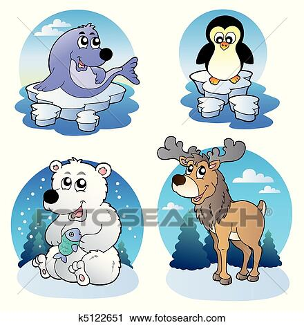 clipart of various cute winter animals k5122651 search clip art