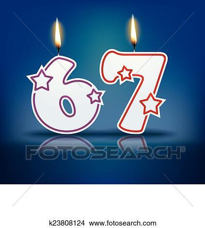 Bougie Anniversaire Nombre 67 Clipart
