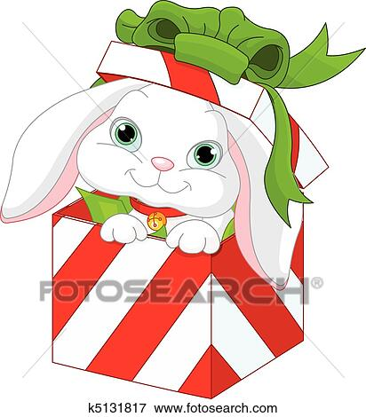 Clip Art Of Bunny In A Christmas Gift Box K5131817 Search Clipart