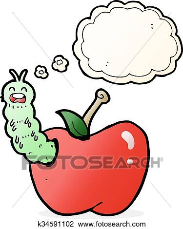 Cartoon Bug Eating Apple With Thought Bubble Clipart