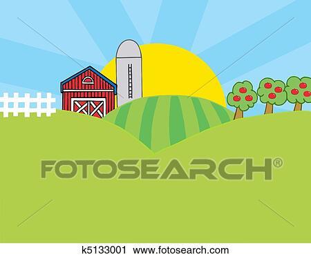 clipart of country farm scene k5133001 search clip art