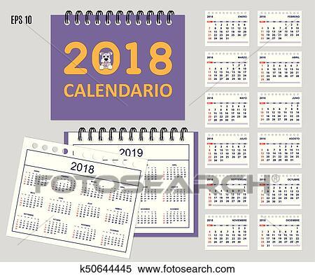 Semaine 45 Calendrier.Espagnol Gosses Calendrier Pour Mur Ou Bureau Annee 2018 2019 Clipart