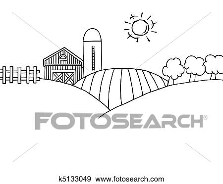 coloring page outline of rolling hills a farm and silo on farm land