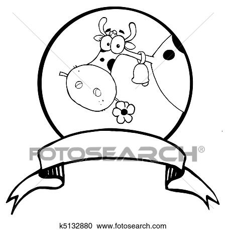Clipart Of Farm Cow Head Chewing On A Flower K5132880