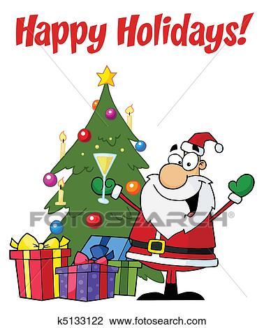 greetings with christmas santa clipart k5133122 fotosearch fotosearch
