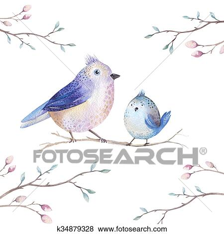 Hand Drawing Watercolor Flying Cartoon Bird Witm Leaves Branche