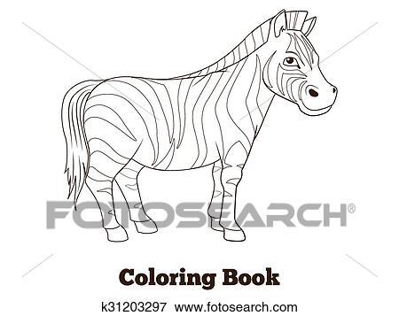 Clip Art - libro colorear, zebra, africano, sabana, animal k31203297 ...