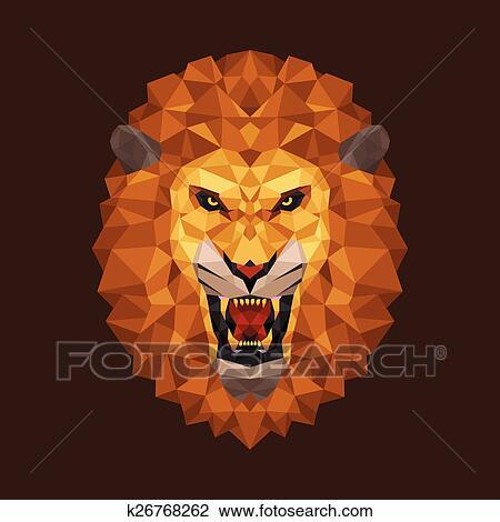 Clipart Lion Tete Polygone Geometrique K26768262 Recherchez