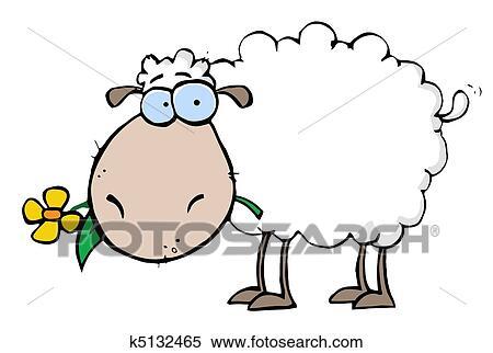 Mouton à Fleur Dans Bouche Clipart