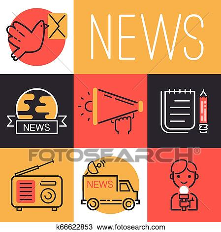 EPS Vector - Set of reporter people. Stock Clipart Illustration gg60347222  - GoGraph