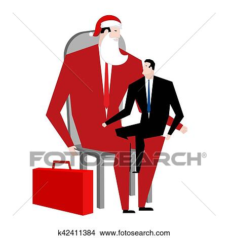 celebration at work corporate new year clipart office christmas manager sitting on lap of boss santa claus congratulates employee
