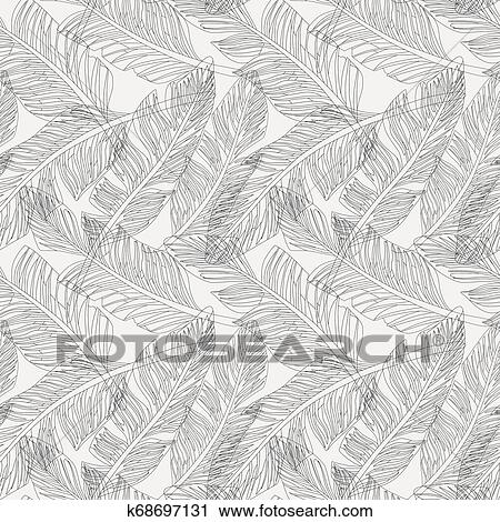 Outline Palm Leaves White Background Seamless Pattern Clip Art K68697131 Fotosearch A bundle of garden botanic doodles; fotosearch