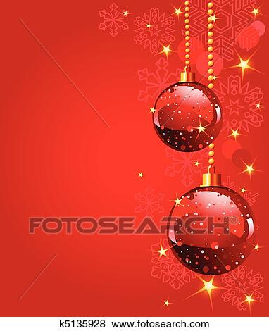 red christmas balls on red snowing background - Red Christmas Balls