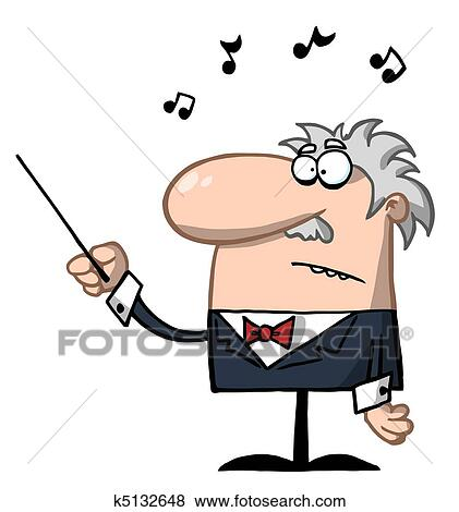 clip art of senior conductor waving a baton k5132648 search rh fotosearch com conductor clipart black and white music conductor clipart