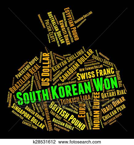 Clip Art South Korean Won Shows Exchange Rate And Coinage Fotosearch Search Clipart