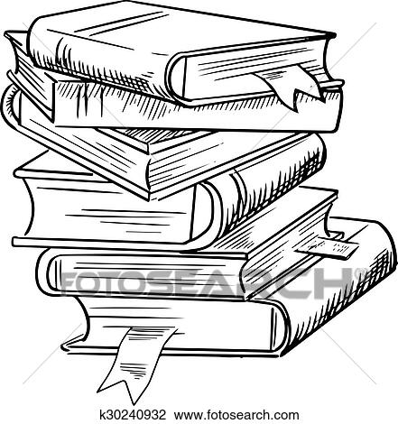 Stack Of Books With Bookmarks Clipart K30240932 Fotosearch