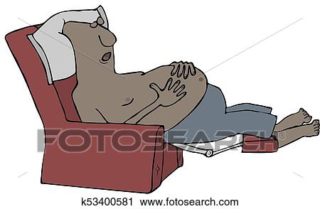 Clipart Of Tired Man Sleeping In A Recliner K53400581