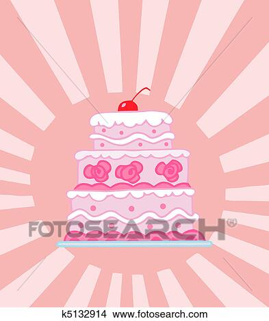 Triple Tiered Rose Gâteau Mariage Clipart