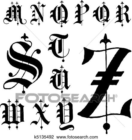 Clipart Of Vector Medieval Gothic Font M Z K5135492