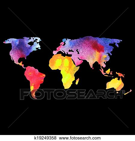 Welt Vektor Landkarte Malen Mit Aquarelle Malen Weltkarte