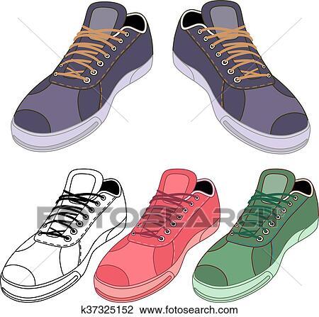 スニーカー, 靴, セット クリップアート(切り張り)イラスト「絵画」集