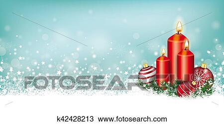 Christmas Header.Cyan Christmas Card Header Snowflakes Candles Baubles Stock Image