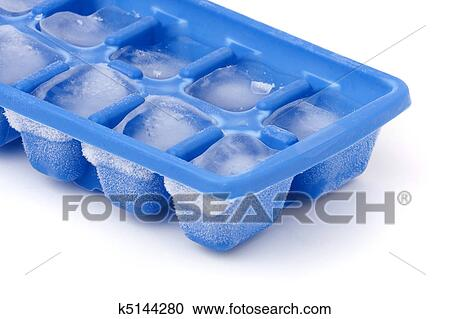 A Blue Plastic Ice Cube Tray With Frost On It Isolated Over White Background