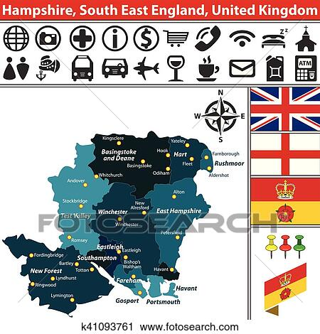 Map Of The South Of England Uk.Hampshire South East England Uk Clipart