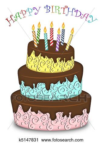 Happy Birthday Three Layer Funny Cake With Candles Clipart K5147831