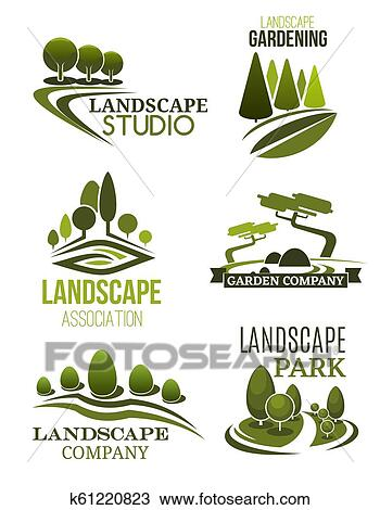 Landscape Design Icons With Green Trees Clipart K61220823