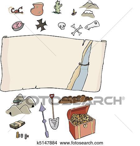 Beroemd Clipart - maken, jouw, eigen, schatkaart k5147884 - Zoek Clipart @LE89