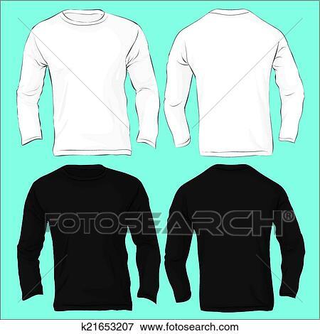 Clip Art Of Mens Long Sleeved T Shirt Template Black White