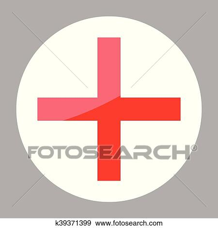 Clip Art Of Sign Red Cross Hospital Clinic Symbol K39371399 Search