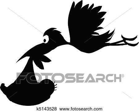 clip art of stork with baby vector silhouettes k5143528 search rh fotosearch com stock vector files stock vector images free download