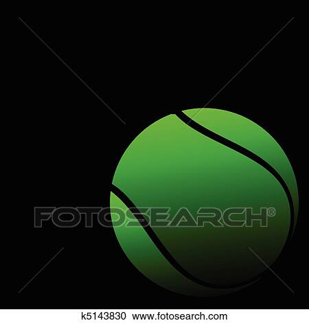 Clipart Of Tennis Ball On A Black Background K5143830 Search Clip