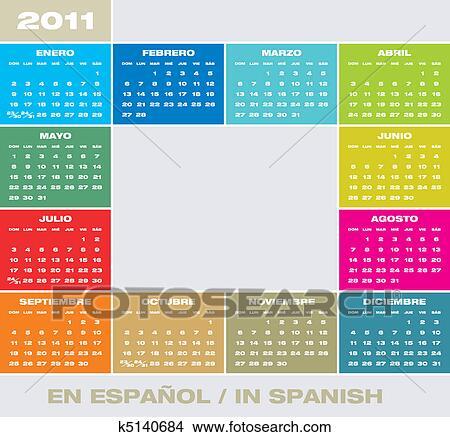 Calendario In Spagnolo.Vettore Calendario 2011 In Spagnolo Clipart