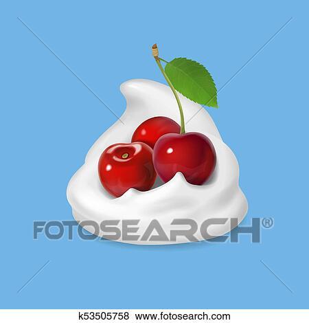 ホイップクリーム あるいは ヨーグルト で さくらんぼ