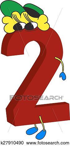 Número 2 Arial Tipo De Letra En Un Botón Cristalino Rojo Sobre ...