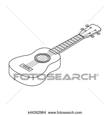 Drawings Of Acoustic Bass Guitar Icon In Outline Style Isolated On