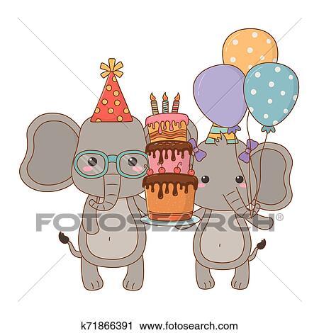 Animais Desenhos Animados Com Feliz Aniversario Bolo Desenho